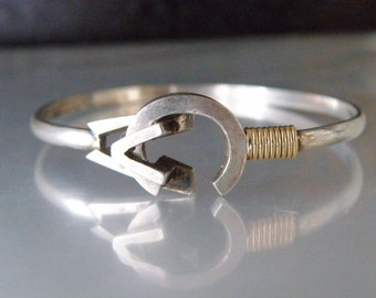 "Sterling Silver 925 and 14K yellow Gold Solid Modern MD Originals Clamp Bangle Bracelet 6.5"" Childs Small"
