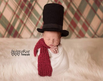 Snowman Costume - Snowman Hat - Snowman Top Hat and Scarf - Newborn Christmas Outfit - Kid's Christmas Outfit - Newborn Photo Prop Top Hat