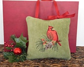 Cardinal Christmas Door Hanger Pillow Pine Cone Holly Olive Green Red Brown Rustic Decorative Repurposed