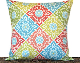 Floral Pillow Cover Cushion Modern Coral Lime Green Chartreuse Aqua Beige Diamond Tile Pattern Decorative 18x18