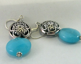 Blue Agate and Silver Earrings