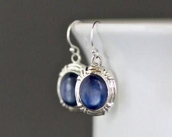 Kyanite Earrings - Blue Kyanite - Blue Gemstone Earrings - Bali Silver Earrings - Silver Bezels - Silver Charm Earrings - Bridal Jewelry