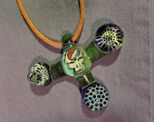 Steal Your Face Grateful Dead Blown Glass Pendant with honeycomb milli
