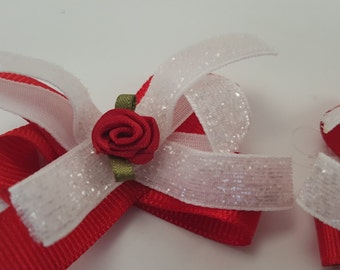 Pair of Red and White Hair Bows