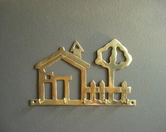 Brass House - Vintage Brass Key Wall Hanging - Brass Key Hook