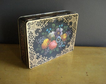 Large Vintage Flower Tea Tin - Tin Jewelry Box - Made in England