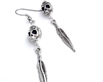 Silver Sugar Skull Earrings, Skull and Feather Earrings, Silver Feathers and Skull Dangle Earrings