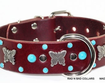 Cherry Brown Leather Dog Collar with Butterflies & Turquoise Rivets, Handmade Dog Collar by Rad N Bad Collars, Butterfly leather dog collar