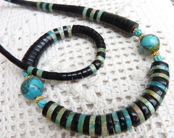 Tiny Antique Chinese carved Turquoise Shou Beads and old Mongolian Jet beads mixed with Natural Turquoise, Statement necklace