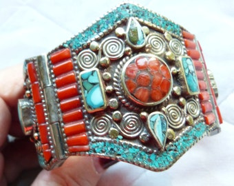 Vintage Nepalese Silver Bracelet , turquoise and coral