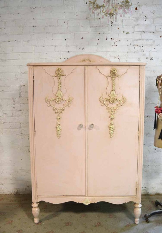 armoire painted cottage chic shabby french romantic armoire. Black Bedroom Furniture Sets. Home Design Ideas