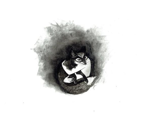 minimalist ink watercolor print: Dæmon