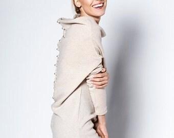 SALE - Cream dress   Tube dress   Sweater dress with buttons   LeMuse cream dress