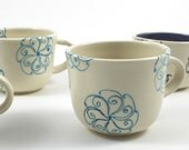 White Pottery Cup with Turquoise Spirals