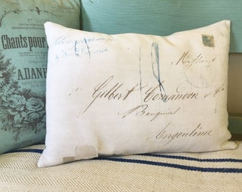 French calligraphy cushion, vintage linen