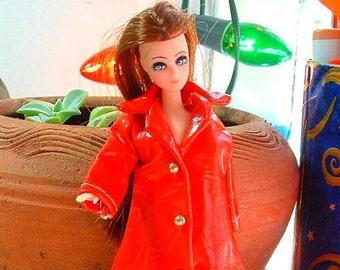 RARE 1970's Vintage TRIS Red Rain Coat Design 1123 - RARE Fits Dawn & Pippa Doll