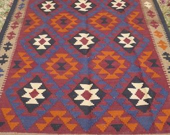 "8 ft  x 4 ft 9"" Handspun wool. Maimana hand woven Rug/Kilim. 243 x 148 cm Tapis"