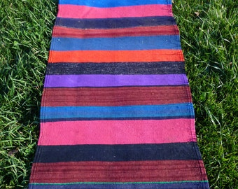 Bright Striped Carpet Kilim Runner Hand woven tough wool. 6 ft 3 x 2 ft 2   190 x 66 cm