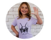 Youth Tshirt, Boston Terrier with Glasses, Hounds-tooth puppy, Dog Lover, Family Pet, Light Pastel,  Lilac Purple, Lavender cotton shirt