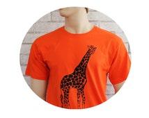 Men's Giraffe T Shirt In Orange, Cotton Crewneck Tshirt, Graphic Tee, Zoo Animal, Circus Animal, Short Sleeved, Screenprinted Hand Printed