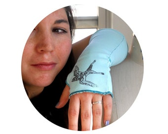 Texting gloves, Long Fingerless Gloves, Tattoo inspired light teal  Bird Arm Warmers With Swallow printed on Them, Great stocking stuffer
