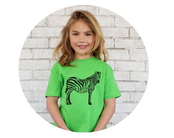 Youth Zebra Tshirt, Apple Green Cotton Crewneck Graphic Tee Shirt, Toddler Clothing, Wild Animal, Safari Party, Zoo Birthday Summer