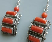 RESERVED E Spectacular Italian Coral Silver Earrings Pre 1944