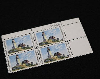 Sc. #1391 Maine Lighthouse US Postage Stamps Maine Statehood 1970 US Stamps Plate Block