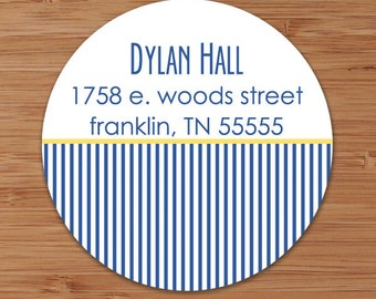 Classic Pinstripes - Custom Address Labels or Stickers