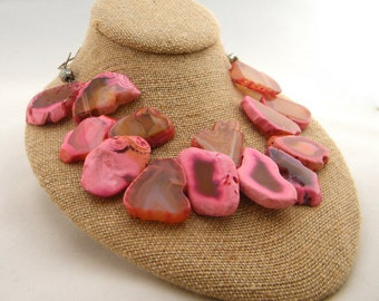 Natural Agate Slice Necklace, Chunky Agate Necklace, Pink Agate Necklace, Natural Stone, Statement Necklace