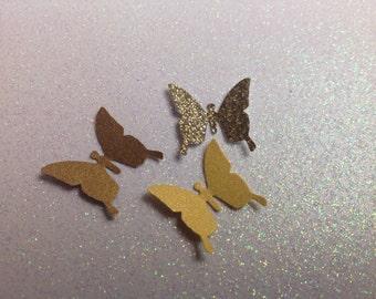 100  pc Golden Paper Butterflies  Confetti      Wedding   Baby Shower    Birthday
