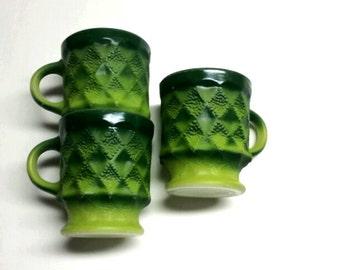 3 Fire King Kimberly Mugs ~ Vintage Coffee Mugs ~ Retro Green Stacking Mugs ~ Vintage Mug Set