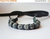 Clearance Sale Ribbon Bracelet -Leather (as in Tuscadero) Ribbon Bracelet . Handmade Fashion Jewelry. Statement Bracelet. Stocking Stuffer