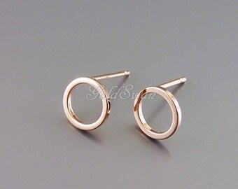 4 shiny rose gold plated over brass 8mm geometric circle stud earrings, rose gold circle post earrings 1071-BRG-8