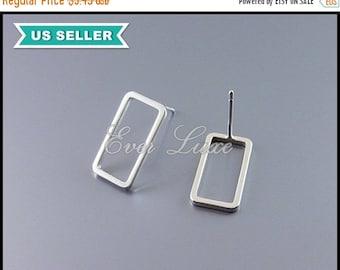 15% SALE 4 long bar stud earrings, long 15mm rectangle stud earrings in matte silver, everyday earrings, rectangle earrings 1999-MR-15