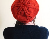 Knitted Beanie Slouchy Beret Style Hat with Star Cable Design Handmade with 100% Wool in Burnt Orange Color