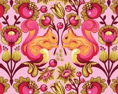 Tula Pink Birds and Bees Squirrel Fabric in Sunset Pink Orange Rare OOP FQ fat quarter PWTP028