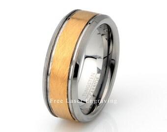 Tungsten Carbide Wedding band 8mm  beveled edge Gold Plated Yellow Gold Finish Tungsten wedding band, Mens Wedding rings, Mens Wedding band