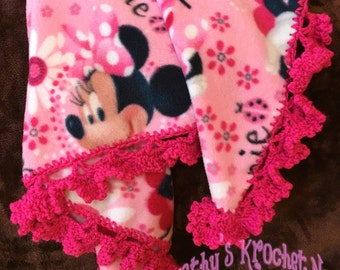 baby blanket, blanket, baby gift, infant, gift, minnie mouse, minnie, afghan, lapghan, baby girl, girl, newborn, fleece blanket, fleece