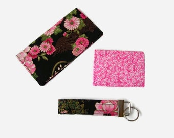 Floral Checkbook Cover, Credit Card / Business Card Holder, Key Fob - Pink and Black 3 Piece Set - Purse Accessory Set - Mini Wallet