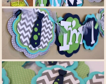 Little Man Neck Tie First Birthday Party Bundle Chevron Stripe Polka Dot Banner Navy Blue Gray Turquoise Green Party Decorations