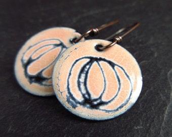 Pale peach and black enamel earrings, sgrafitto design on enamel, enamel on copper, torch enamel jewelry, scribble earrings, disc earrings