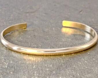Dainty Solid 14k Gold Cuff Bracelet Half Round with Mirror Finish - BR551