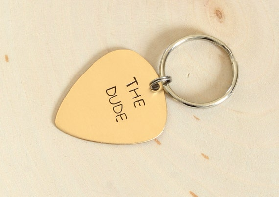 Personalized Bronze Guitar Pick Keychain Custom Stamped and Engraved - KC609