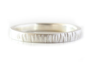 Silver Wedding Band Stacking ring Bark Texture Eco Friendly Argentium Silver