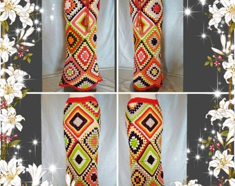 Custom made to Order Womens Crochet Granny Square Hippie Gypsy Skirt