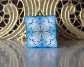 Polymer Clay Kaleidoscope Cane Turquoise, Gold, White, Black No. 1078