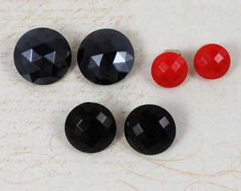 Vintage 1960s Lot of 3 Pairs of Faceted Plastic Red and Black Button Clip On Earrings