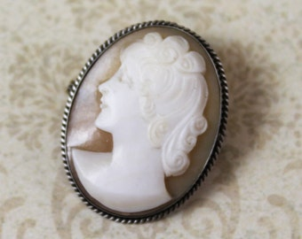 Vintage Silver Shell Cameo Brooch and Pendant