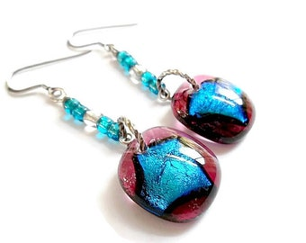 Dichroic Glass Earrings, Dichroic Earrings, Fused Glass Earrings, Dangle Earrings, French Hook Earrings,  Blue and Red